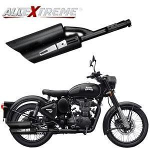 AllExtreme EX104 Double Barrel Harley Sound Exhaust Silencer With Glasswool  & Bush for BS3 and BS4 Royal Enfield Bullet Electra, Standard, Classic