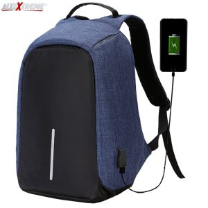 AllExtreme EXATBP1 Anti Theft Laptop Bag 14 Inch Water Resistant Office Backpack with USB Charging Port (Blue)