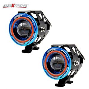 AllExtreme EXU11L2 U11 CREE LED Headlight Projector Fog Lamp with Dual Ring for Car, Motorcycle and Jeep (Red & Blue Angel Eyes, 3000LM, 2 PCS)