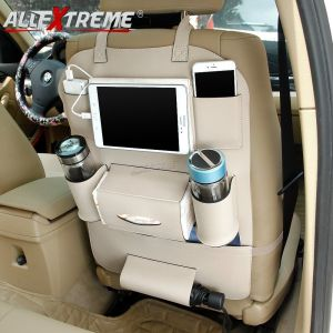 AllExtreme EXCOWPC Universal PU Leather Car Back Seat Organizer Multi Pocket Backseat Bag with Tissue & Bottle Holder (Beige)