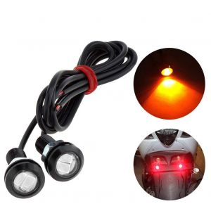 AllExtreme EXDRLFL 18mm Eagle Eye Red DRL LED Light License Plate Tail Reverse Lamp for Cars & Motorcycles (9W, 2 Pcs)