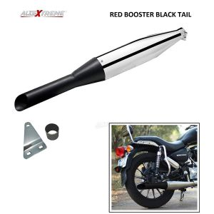 AllExtreme EX083 Red Rooster Silencer Exhaust with Bush Compatible for BS3 and BS4 Model Royal Enfield Bullet 350cc and 500cc (Chrome with Black Tail)