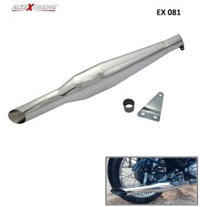 AllExtreme EX081 Royal Enfield Red Rooster Silencer with Glasswool Compatible for BS3 and BS4 Model Royal Enfield Bullet 350cc and 500cc (Chrome)