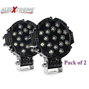 AllExtreme EX7M2B2 7 Inch Round Led Fog Light Universal 17 LED Off Road Driving Roof Lamp for Jeep Bikes and Cars (51W, White Light, 2 PCS)