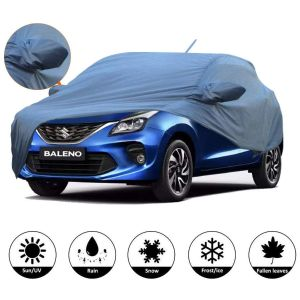 AllExtreme BN7006 Car Body Cover for Maruti Suzuki Baleno with Antenna Pocket Custom Fit Water Resistant Rain Dust Heat for Indoor Outdoor Protection (Blue with Mirror)