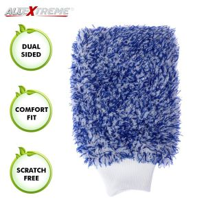 AllExtreme EXMDBW1 Double-Sided Microfiber Car Washing Mitt Reusable Duster Glove for Wet/Dry Applications (Blue and White, 1 PC)