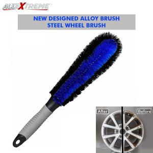"AllExtreme AEFLD-03-1 Car Wheel Cleaning Brush Tire Rim Scrub Cleaner with Anti-Slip Rubber Handle for Automobile and Motorcycle (12"")"
