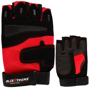 AllExtreme Multipurpose Gym And Bike Gloves For Fitness,Weightlifting Exercise Half Finger Sport Cycling Fitness Gloves - Red (L)