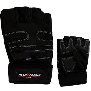 AllExtreme Gym Gloves with Wrist Support Quality Sports Accessories - Black (L)