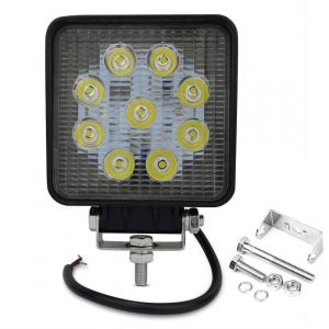 AllExtreme EX9SF1P 9 LED Square Fog Light 4 Inch CREE Spot Beam Work Lamp with Mounting Brackets for Car and Motorcycle (27W, White Light, 1 PC)