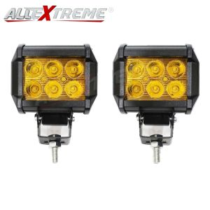 AllExtreme EX6FY2P 6 LED Fog Light Bar Spot Beam Off Road Driving Lamp for Cruiser Bikes, Truck, Car, ATV, SUV, Jeep and Cars(18W, Amber Yellow Light, 2 PCS)