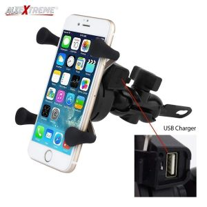 ALLEXTREME EX4LMHC Universal Mobile Phone Holder Cradle USB Charger with 360 Rotation for Bike Motorcycle Mirror Mount (Black)