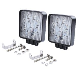 AllExtreme EX9SF2P 9 LED Square Fog Light 4 Inch CREE Spot Beam Work Lamp with Mounting Brackets for Car and Motorcycle (27W, White Light, 2 PCS)