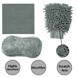 AllExtreme EXFLD14 3 in 1 Car Cleaning Tool Kit Exterior and Interior Wash Supplies with Microfiber Cleaning Cloth, Dual Sided Wash Glove and Sponge with Carry Box (3 Pcs)