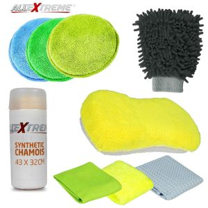AllExtreme EXFLD10 Car Cleaning Kit Wash Set for Interior and Exterior with Microfibre Cloth, Polishing Pads, Wash Glove, Sponge and Synthetic Chamois (9 Pcs)