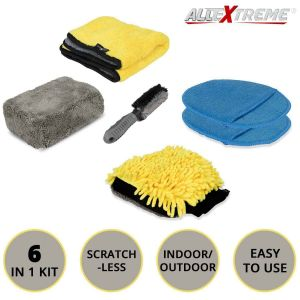 AllExtreme EXFLD12 Car Auto Cleaning Tool Kit with Sponge, Microfibre Towel, Tire Brush, Polishing Pads, Washing Glove (6 Pcs)