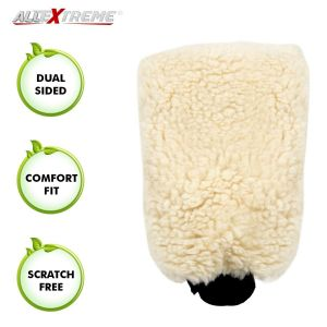 AllExtreme EX17S1 Double-Sided Microfiber Car Washing Gloves Mitt Dusting Scratch-Less and Lint-Free Reusable Cleaning Duster for Wet or Dry Applications (Cream Colour)