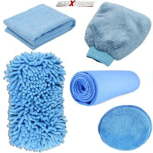 AllExtreme EXFLD15 Car Wash Microfiber Essentials Kit 7 in 1 Pack with Polishing Pads, Wash Glove, Cleaning Cloth, Synthetic Chamois and Wash Sponge (7 Pcs)