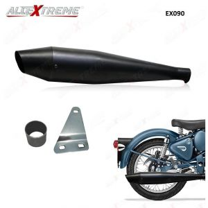 AllExtreme EX090 Dolphin Silencer with Glasswool  & Bush for BS3 and BS4 Royal Enfield Bullet Electra, Standard, Classic, Classic Squadron Blue, Classic Desert Storm, Classic Battle Green (Full Black)
