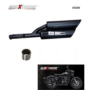 AllExtreme EX104 Double Barrel Harley Sound Exhaust Silencer With Glasswool & Bush for BS3 and BS4 Royal Enfield Bullet Electra, Standard, Classic 350cc and 500cc (Full Black)