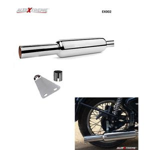 AllExtreme EX002 Empty Silencer Exhaust with Bush for BS3 and BS4 Model Royal Enfield Bullet Classic Standard 350cc and 500cc (Chrome)