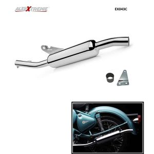 AllExtreme EX043C Angular Model Silencer with Filter with Bush for BS3 and BS4 Model Royal Enfield Bullet Electra Standard Classic 350cc and 500cc (Chrome)