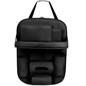 AllExtreme EXFTCOB Universal PU Leather Car Back Seat Organizer with Foldable Table Tray Backseat Bottle Tissue Holder (Black)