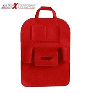 AllExtreme EXFBSOR Universal Fibrous Car Seat Back Multi Pocket Organizer Backseat Travel Bag for Tissue Bottle Storage (Red)
