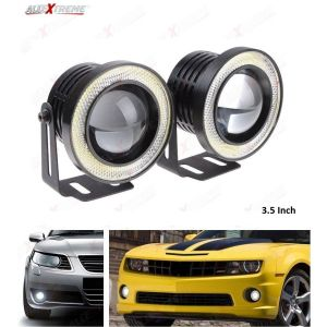 AllExtreme EX35IF2 High Power 3.5 Inches Universal Car Projector LED Fog Light with White Light COB Halo Angel Eye Rings DRL Driving Bulbs for Cars (10W, White Light, 2 PCS)