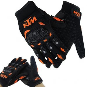 AllExtreme KTM Rider Safety Motosports Polyester Motocross Riding Gloves with Hard Knuckles for Men and Women (Black and Orange, Large)