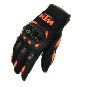 AllExtreme KTM Rider Safety Motosports Polyester Motocross Riding Gloves with Hard Knuckles for Men and Women (Black and Orange, Medium)