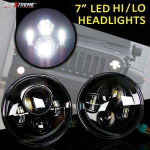 AllExtreme Harley Style 7 Inch Round LED Headlight High/Low Multi-Beam DRL Light with Chrome Housing For Royal Enfield Classic, Standard, Electra, Jeep, Truck (75W, Pack of 2)