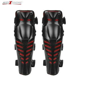 AllExtreme Adjustable Knee and Shin Guards Knee Shin Armor Protection Guard with Pads Flexible Breathable Standard Size High-Impact Knee Pads for Motorcycle/Bike (Black)