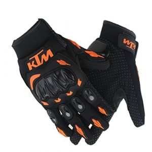 AllExtreme KTM Rider Safety Motosports Polyester Motocross Riding Gloves with Hard Knuckles for Men and Women (Black and Orange, XXL)