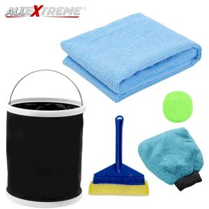 AllExtreme EXFLD16 Car Cleaning Tools Kit Exterior and Interior Wash Supplies with Microfibre Cleaning Cloths, Wash Glove, Sponge, Squeegee and Collapsible Bucket (6 Pcs)