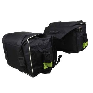 AllExtreme EXSHB1W Water Resistant Two Wheeler Hanging Double-Sided Saddle Bag Motorcycle Pannier & Travel Bag for Bikes (45 Liters, Black and Green)