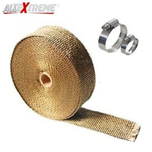 AllExtreme EXSLWCG Universal Golden Silencer Wrap Exhaust Heat Shield with Clamp for Motorcycle (3 Meter)