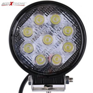 AllExtreme EX4RNF1 9 LED Round Fog Light 4 Inch Waterproof Flood Lamp with Mounting Brackets for Motorcycle and Cars (27W, White Light, 1 PC)