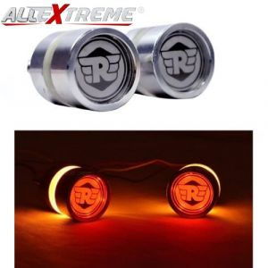 AllExtreme EXLXSB2 Stylist Handlebar End LED Turn Signal Indicator Light compatible for Royal Enfield Bullet 350cc & 500cc (Amber Light, 2 PCS)