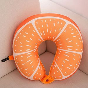 U Shaped Orange Design Soft Microbead Neck Pillow