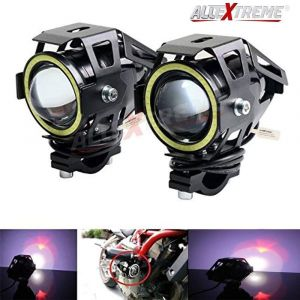 AllExtreme EXU7BW2 U7 CREE LED Fog Light Work Lamp with Hi/Low, Flashing Beam and White Light Angel Eye Ring for Cars and Motorcycles (12W, White Light, 2 PCS)