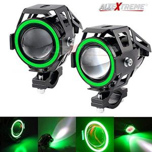 AllExtreme EXU7MG2 U7 Mini CREE LED Fog Light Work Lamp with Hi/Low, Flashing Beam and Green Angel Eye Ring for Cars and Motorcycles (12W, Green & White Light, 2 PCS)