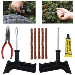 AllExtreme EXTTPK5 Complete Tubeless Tyre Puncture Repair Kit with Emergency Brown Seal Strips (Nose Pliers + T-handle Plugger + Rubber Solution)