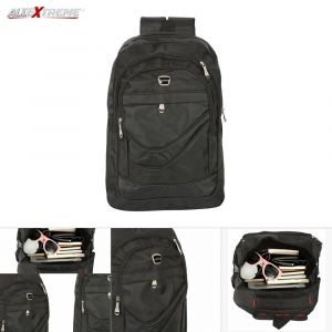 Unisex Heavy Duty Nylon Laptop Backpack - Black
