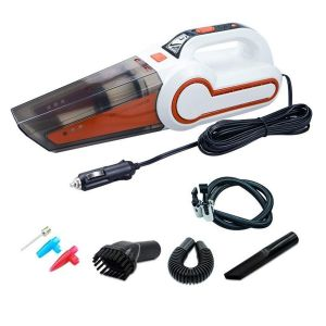 AllExtreme AE-Q8801D 4 in 1 Multifunctional Portable Handheld Car Vacuum Cleaner with Analog Tyre Inflator, LED Light and 4.5M Car Cigarette Lighter Power Cord (4000Pa, 120W, 6 Months Warranty)